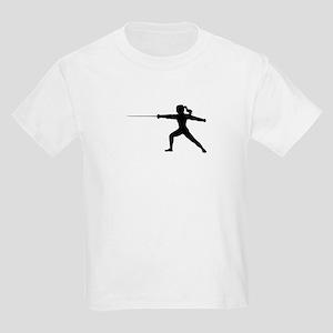 Girl Fencer Lunging Kids Light T-Shirt