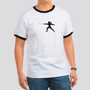 Girl Fencer Lunging Ringer T