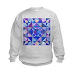 Blue Quilt Watercolor Kids Sweatshirt