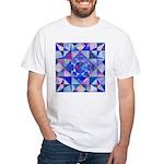 Blue Quilt Watercolor White T-Shirt