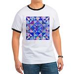 Blue Quilt Watercolor Ringer T