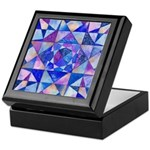 Blue Quilt Watercolor Keepsake Box