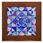 Blue Quilt Watercolor Framed Tile