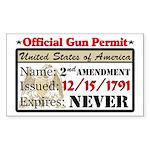 """Official Gun Permit"" Sticker (Rectangle"