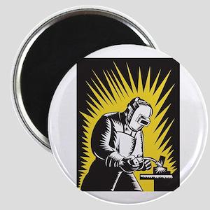 Welder Metal Worker Welding Retro Magnet