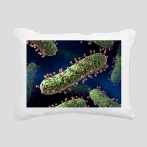 Bacteriophages infecting bacteria artwork - Pillow