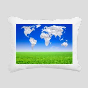 Cloud world map, artwork - Pillow