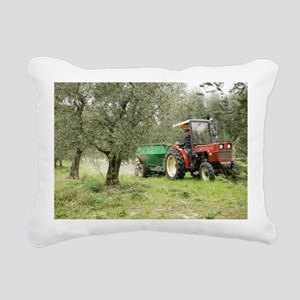 Farmer spreading manure in an olive grove - Pillow