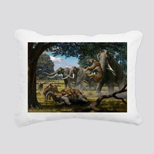Mammoths and sabre-tooth cats, artwork - Pillow