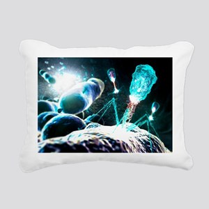 Bacteriophage virions, computer artwork - Pillow