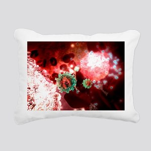 Budding HIV particle, computer artwork - Pillow