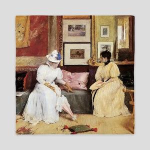William Merritt Chase A Friendly Call Queen Duvet