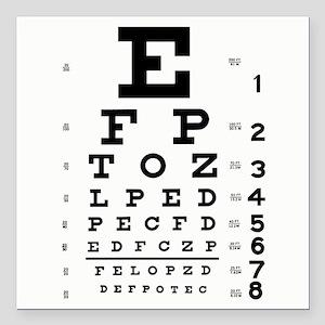 "Eye Chart Square Car Magnet 3"" x 3"""