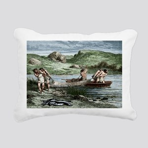 Early humans fishing - Pillow