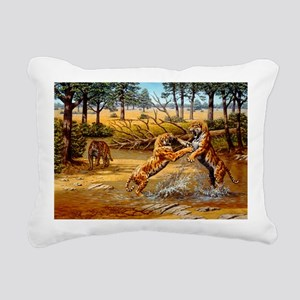 Sabre-toothed cats fighting - Pillow