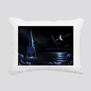 Space rocket and ringed planet, artwork - Pillow