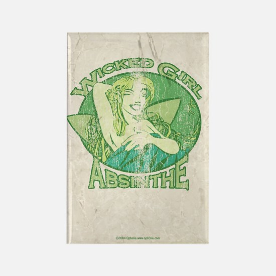 Vintage Wicked Girl Absinthe Rectangle Magnet