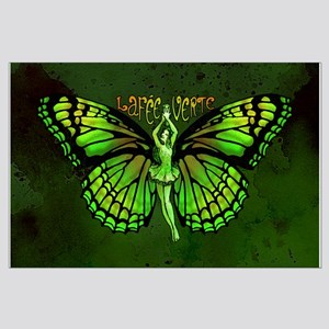 Green Fairy Wings Spread Large Poster