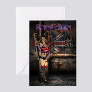 Union Jack Female Rock - Goth Girl Birthday Card