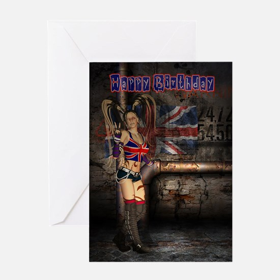 Union Jack Female Rock - Goth Girl Birthday Card