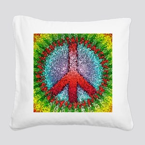 Abstract Peace Sign Square Canvas Pillow