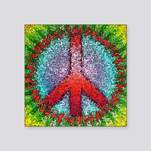 """Abstract Peace Sign Square Sticker 3"""" x 3"""""""