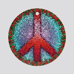 Abstract Peace Sign Ornament (Round)