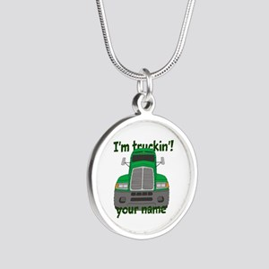 Personalized Im Truckin Silver Round Necklace