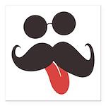 Mustache and Sunglasses Square Car Magnet 3
