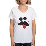 Mustache and Sunglasses Women's V-Neck T-Shirt
