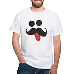 Mustache and Sunglasses White T-Shirt