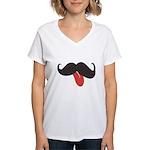 Mustache and Tongue Women's V-Neck T-Shirt