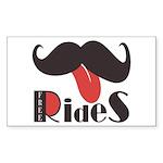Mustache Rides Sticker (Rectangle)