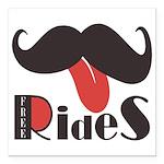 Mustache Rides Square Car Magnet 3
