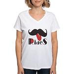Mustache Rides Women's V-Neck T-Shirt