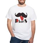 Mustache Rides White T-Shirt