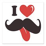 I Love Mustache Square Car Magnet 3