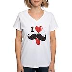 I Love Mustache Women's V-Neck T-Shirt