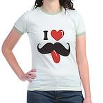 I Love Mustache Jr. Ringer T-Shirt