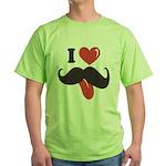 I Love Mustache Green T-Shirt