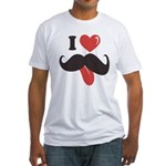 I Love Mustache Fitted T-Shirt