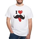 I Love Mustache White T-Shirt