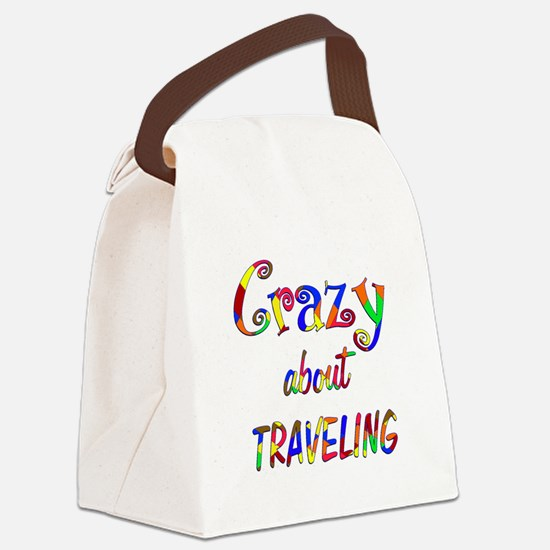 Crazy About Traveling Canvas Lunch Bag