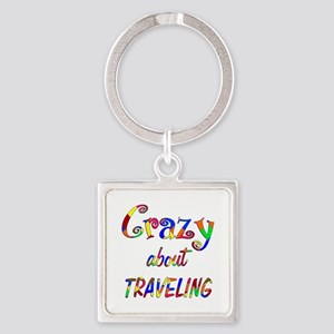 Crazy About Traveling Square Keychain