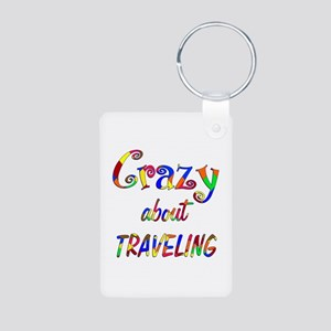 Crazy About Traveling Aluminum Photo Keychain