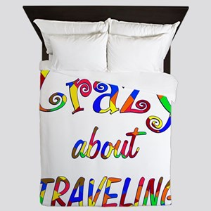 Crazy About Traveling Queen Duvet