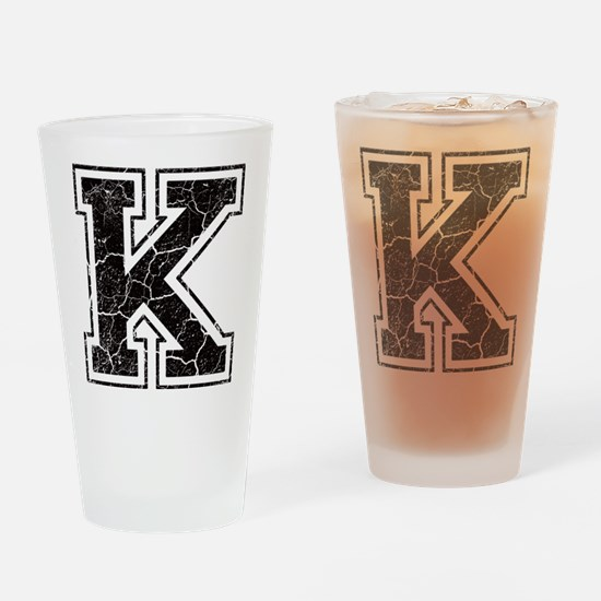 Letter K in black vintage look Drinking Glass