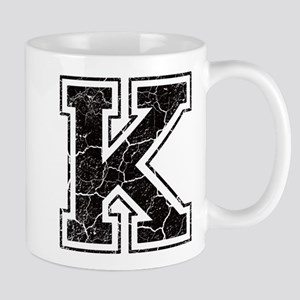 Letter K in black vintage look Mug