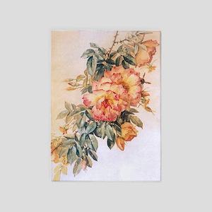 Pale Orange Roses 5'x7'Area Rug
