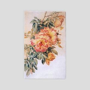 Pale Orange Roses 3'x5' Area Rug
